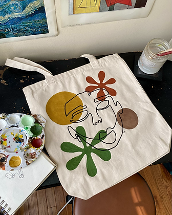 70s Inspired Line Face Tote