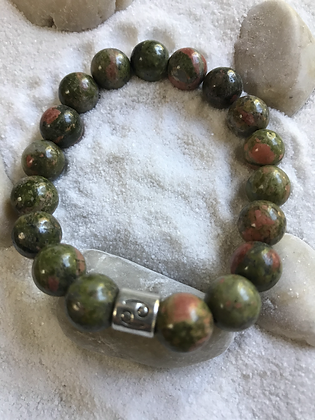 Green/brown semi precious gemstone bracelet- Zodiac sign- Cancer