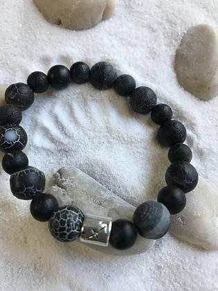 Mat black semi-precious gemstone bracelet- Zodiac sign - Sagittarius