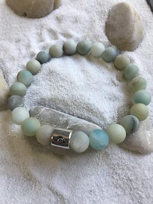 Mat aqua blue semi precious gemstone bead bracelet- Zodiac sign Libra