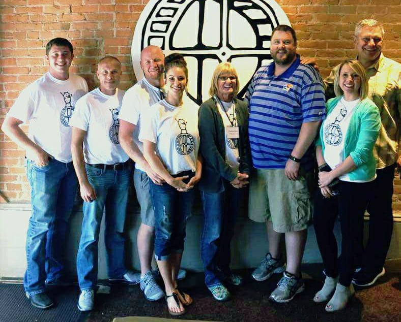 Business Owners of Colby, Kansas, who attended Schallert's Destination Bootcamp in Sept. 2017. From Left Christian Callihan, Jerry Gallentine of Colby Bowl, Matt Carmichael of NWKS Decorating, Megan Carmichael of Citizens Medical Center Foundation, Charlene Kaus of Moonlight Gardens, Economic Development Director Vernon Hurd, Christina Beringer of Nesting and Destination Bootcamp President Jon Schallert.