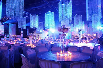 Event setup. Centerpieces and lights