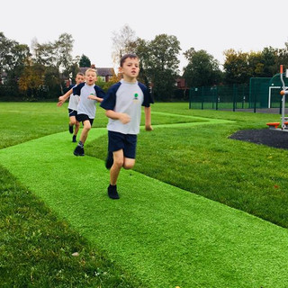 Turfed track in use