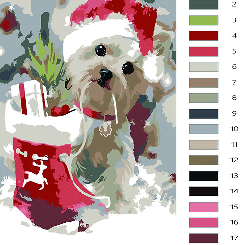 Paint by Numbers Christmas Dog