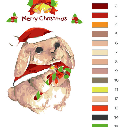 Paint by Numbers Christmas Rabbit