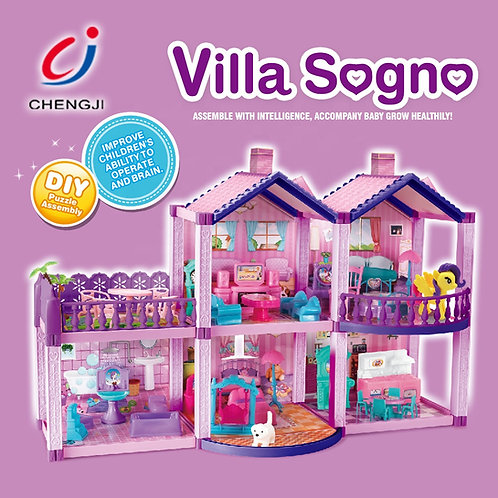 Dream Doll House with Horse, DIY Indoor Children Funny Miniature Doll House Fur
