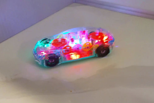 Wild transparent traveling car with moving gears!