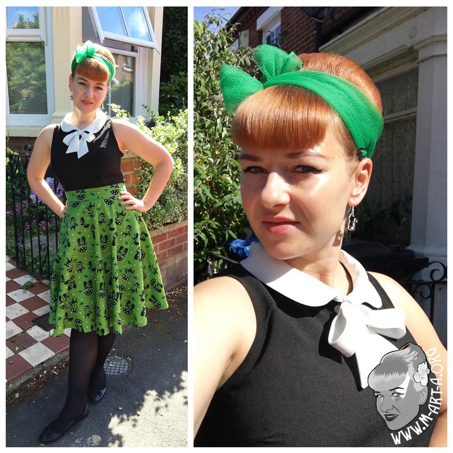 Voodoo Vixen Amelia Green Cute Black Cat Print Skirt from Nora Mae