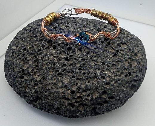 22cm - Medium Bracelet with copper and blue Swarovski crystal (opening) - 22cm