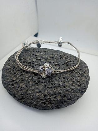 22cm - Medium Bracelet with skull & flowers (Opening)