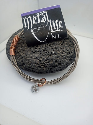 26cm - Large Bracelet with bass twist & copper  (slide on)
