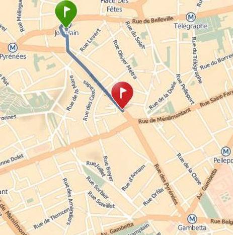 Plan d'accès pour arriver au Centre Jaya : métro Jourdain ou Gambetta, ou bus 26 /96 Pyrénées-Ménilmontant