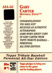 2003 Topps Tribute Perennial All-Star Signing #GC Gary Carter Jsy