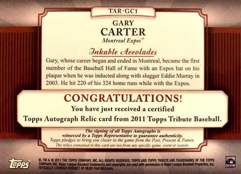 2011 Topps Tribute Autograph Relics Green #GC1 Gary Carter/75