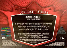 2007 Topps Triple Threads Relics Autographs White Whale Printing Plate #140 Gary Carter 1/1