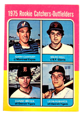 1975 Topps Mini #620 Rookie Catchers and Outfielders/Gary Carter/Marc Hill/Danny Meyer/Leon Roberts RC