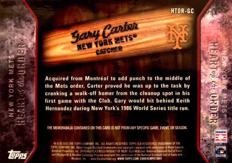 2015 Topps Heart of the Order Relics #HTORGC Gary Carter/99