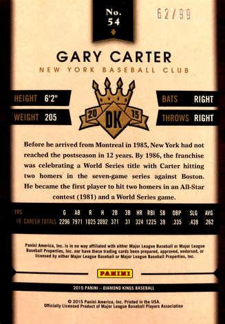 2015 Diamond Kings Framed Blue #54 Gary Carter/99
