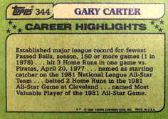 1982 Topps #344 Gary Carter AS