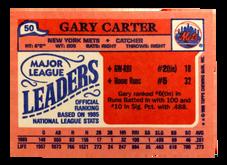 1986 Topps Mini Leaders #50 Gary Carter
