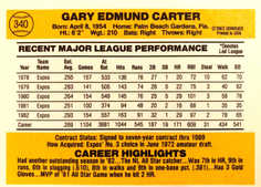 1983 Donruss #340 Gary Carter