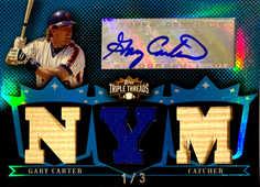 2007 Topps Triple Threads Relics Autographs Sapphire #139 Gary Carter/3