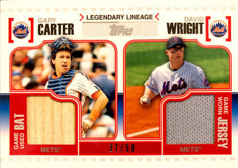 2010 Topps Legendary Lineage Relics #CW Gary Carter/David Wright/50