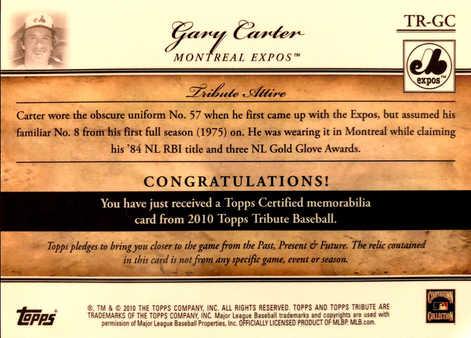 2010 Topps Tribute Relics Blue #GC Gary Carter/75
