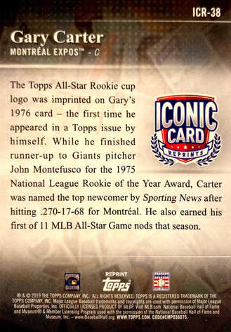 2019 Topps Update Iconic Card Reprints #ICR38 Gary Carter