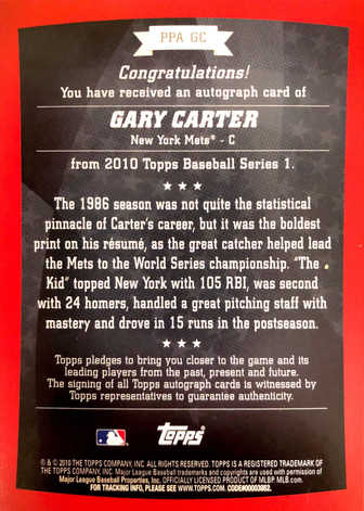 2010 Topps Peak Performance Autographs #GC Gary Carter