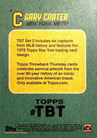 2019 Topps Throwback Thursday #9 Gary Carter/'76 Star Trek/513