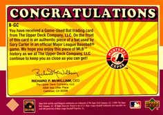 2001 Upper Deck Decade 1970's Game Bat #BGC Gary Carter