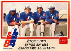 1984 Expos Stuart #36 Expo '83 All Stars (Gary Carter/Andre Dawson/Tim Raines)