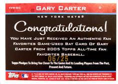 2005 Topps All-Time Fan Favorites Relics Rainbow #GC Gary Carter Bat/25