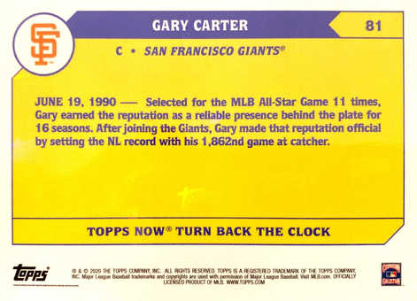 2020 Topps NOW Turn Back The Clock Cherry #81 Gary Carter/7