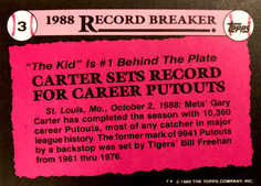 1989 Topps Tiffany #3 Gary Carter RB/Sets Record for/Career Putouts