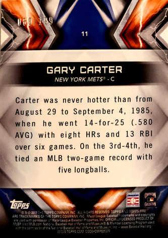 2017 Topps Fire Orange #11 Gary Carter/299