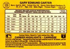 1987 Leaf/Donruss #109 Gary Carter