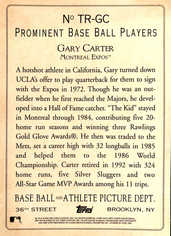 2006 Topps Turkey Red Box Loader Cabinet #GC Gary Carter (5X7)