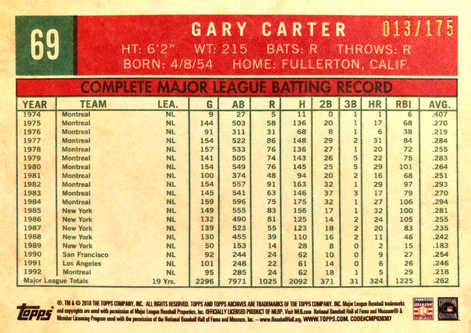 2018 Topps Archives Purple #69 Gary Carter/175