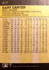 1986 Fleer Wax Box Cards #C7 Gary Carter