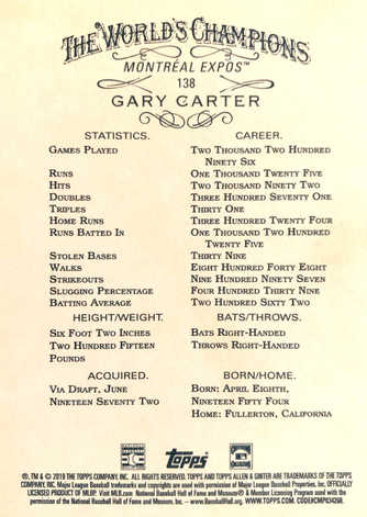 2019 Topps Allen and Ginter #138 Gary Carter