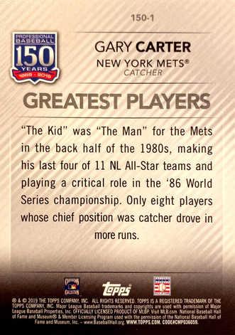 2019 Topps Update 150 Years of Baseball Blue #1501 Gary Carter
