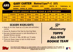 2008 Topps 50th Anniversary All Rookie Team #AR5 Gary Carter