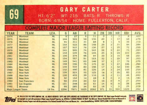 2018 Topps Archives No Signature #69 Gary Carter