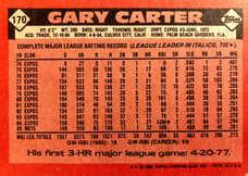 1986 Topps #170 Gary Carter