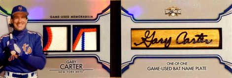 2012 Topps Triple Threads Bat Name Plate  #TTBNP-6 Gary Carter 1/1