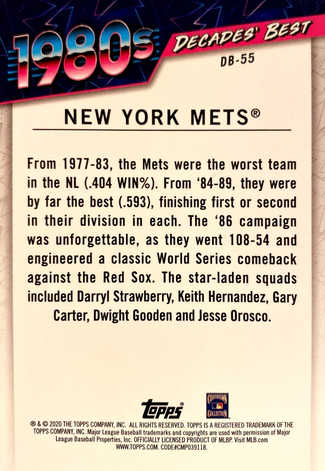 2020 Topps Decades' Best Series 2 #DB55 New York Mets
