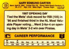 1987 Donruss Opening Day #130 Gary Carter
