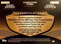 2006 Topps Triple Threads Relic Combos Gold #139 Yogi Berra/Carlton Fisk/Gary Carter/9
